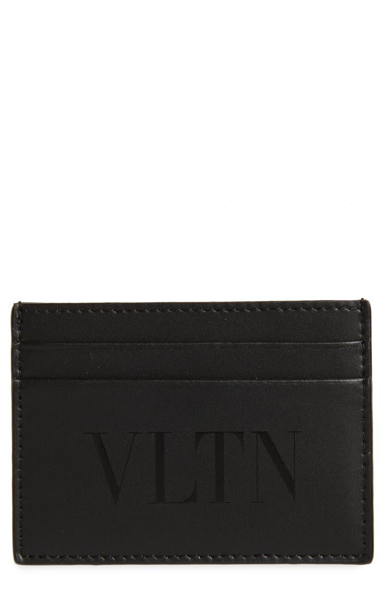 VALENTINO VLTN Leather Card Holder, Main, color, BLACK
