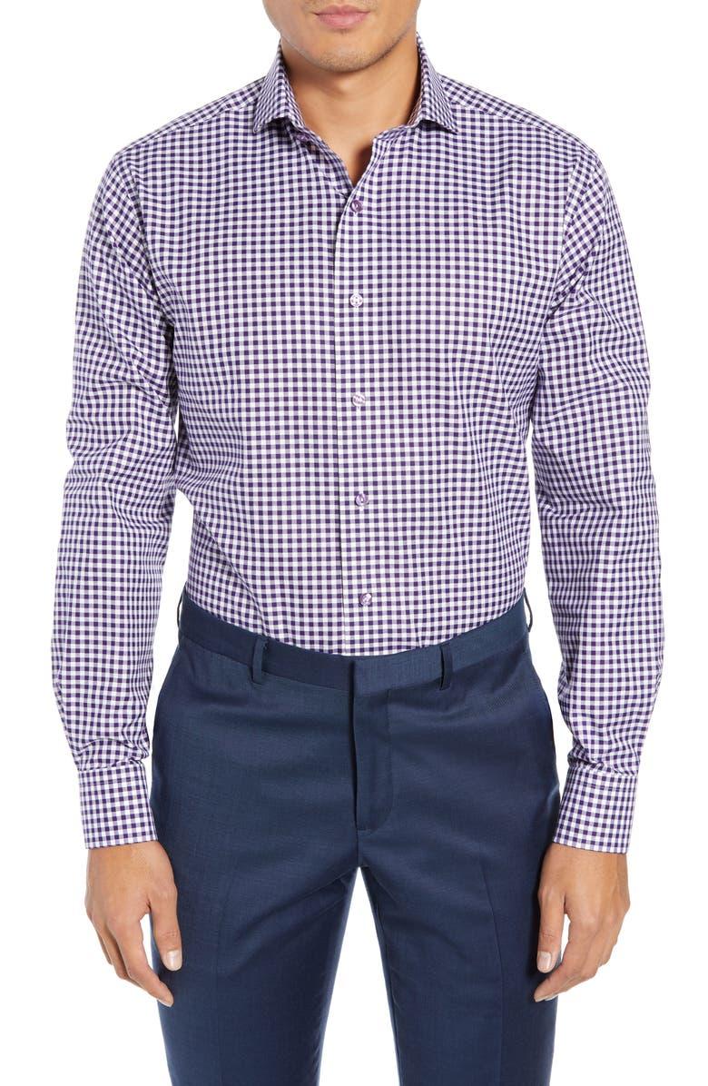 LORENZO UOMO Trim Fit Check Dress Shirt, Main, color, PURPLE