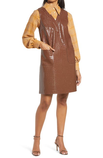 Image of Halogen x Atlantic-Pacific Croc Embossed Faux Leather Shift Dress