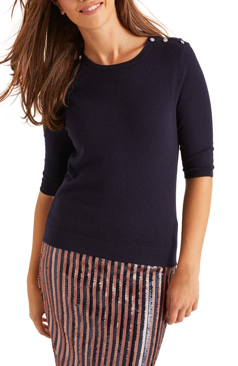 BODEN Betty Button Shoulder Sweater, Main, color, NAVY