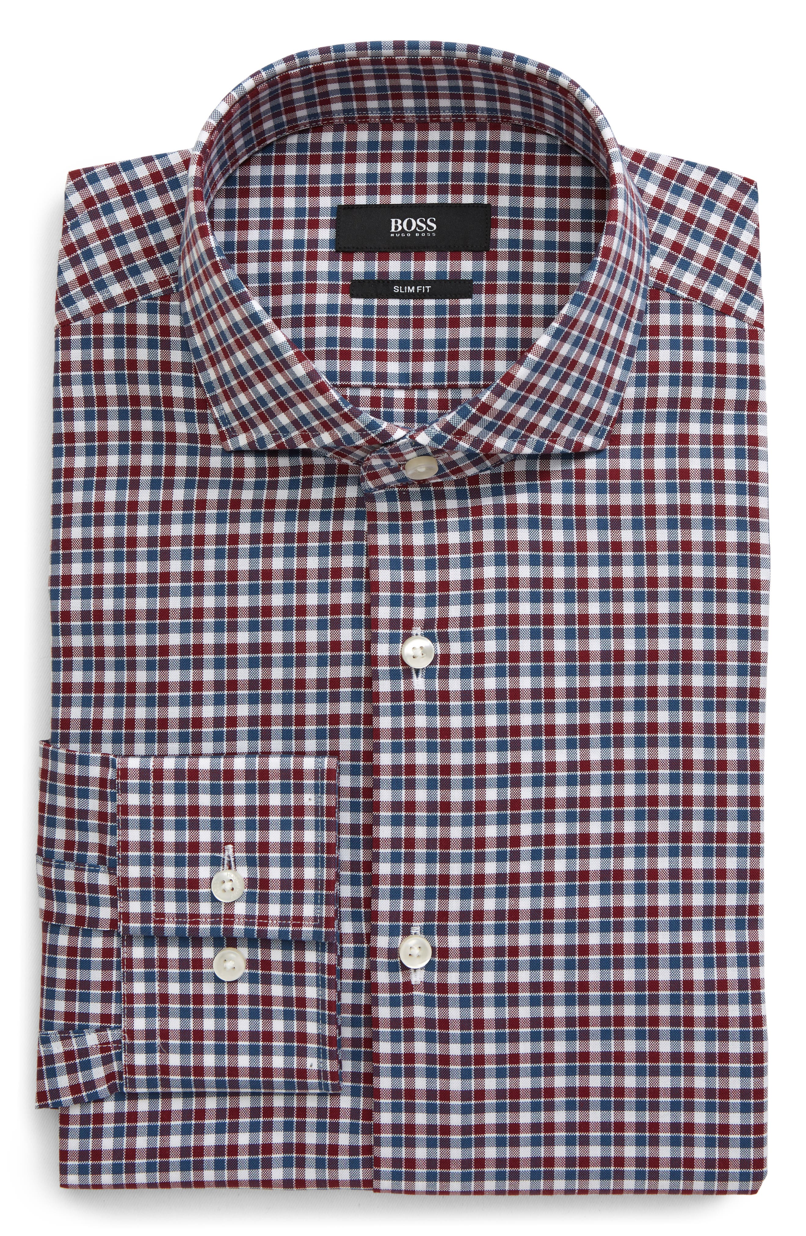 Image of BOSS Plaid Slim Fit Dress Shirt