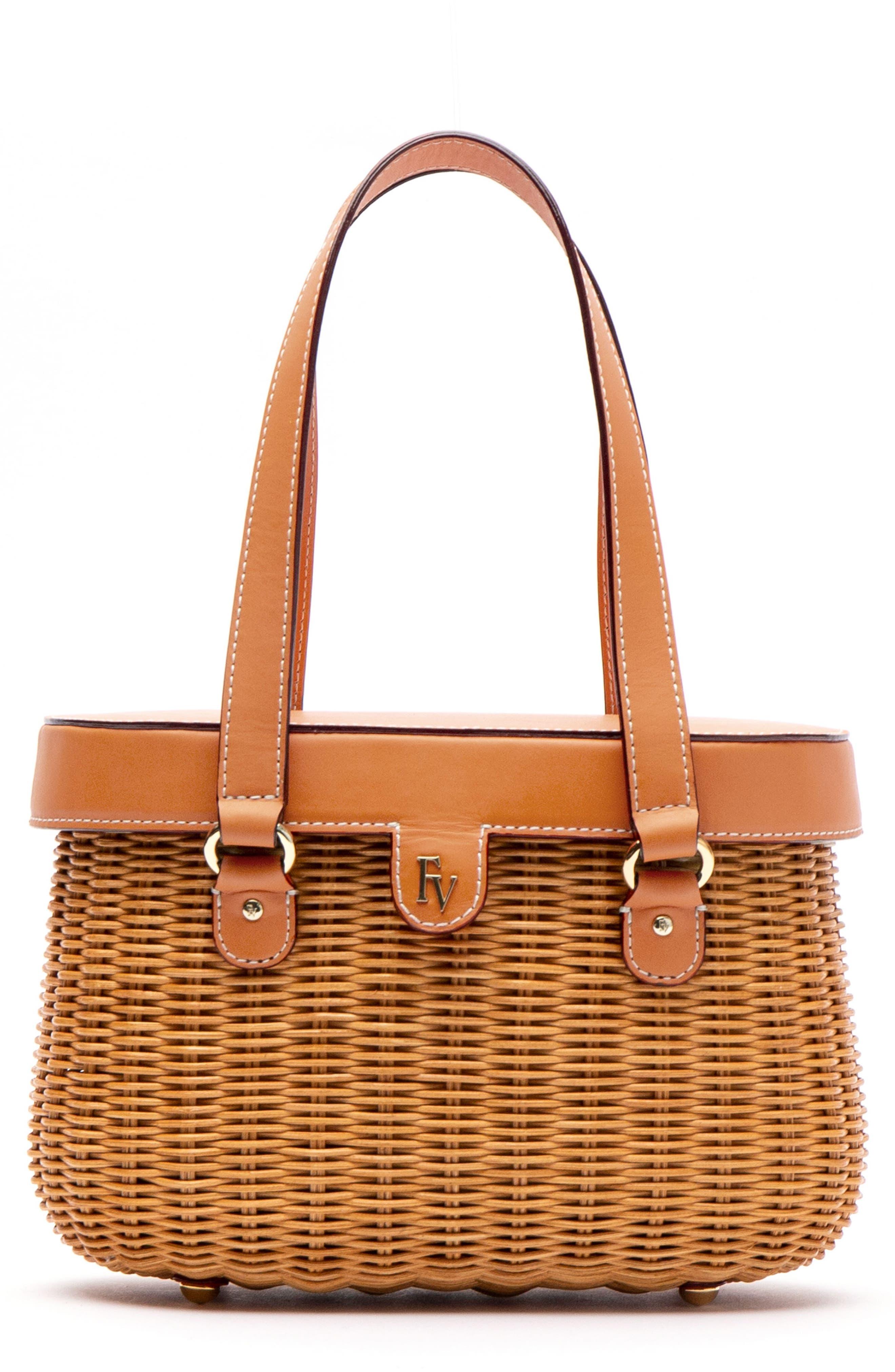 bbddfa6800 Frances Valentine Arielle Wicker Top Handle Bag - Beige