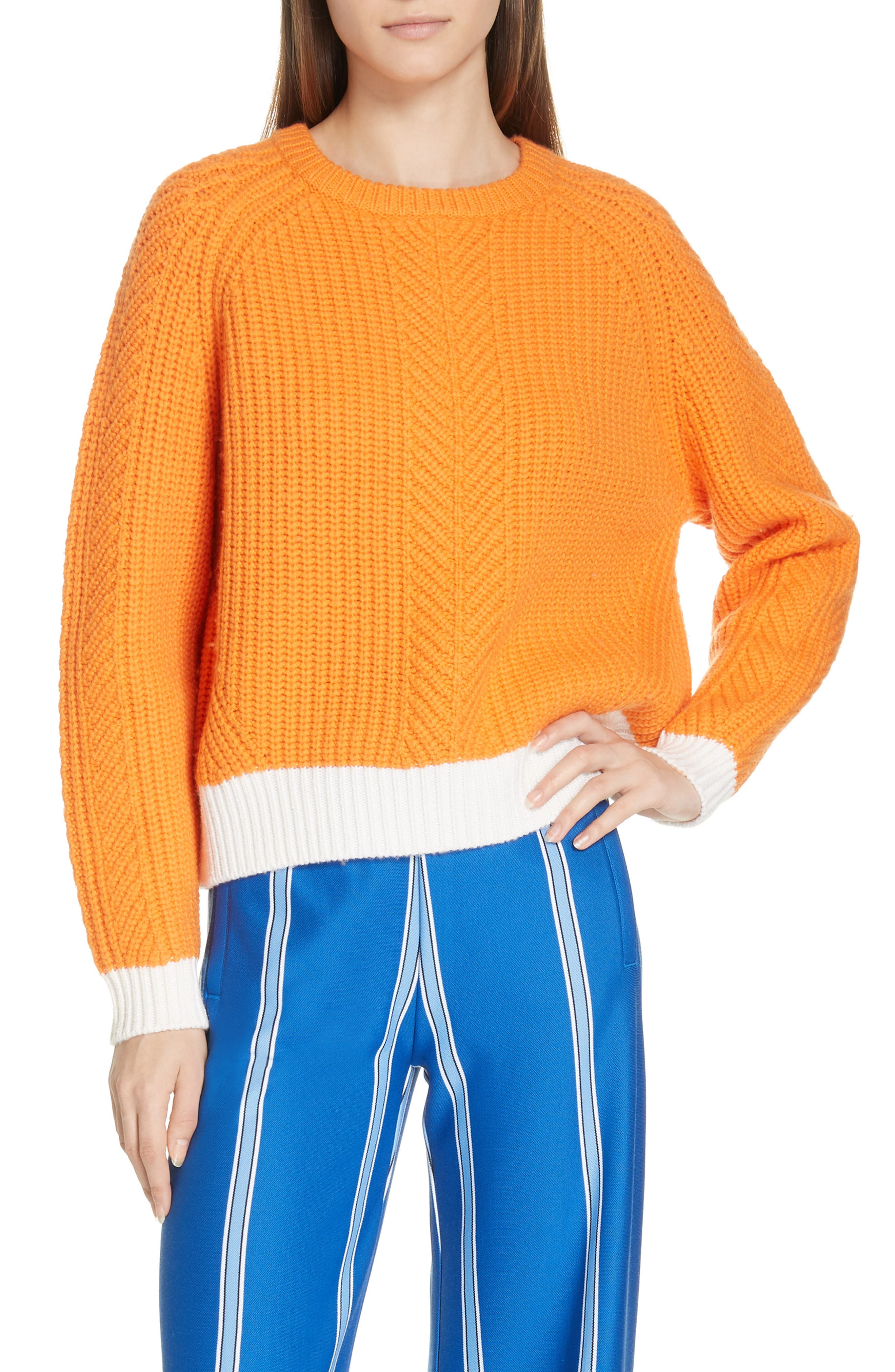 Tory Sport Contrast Hem Merino Wool Sweater, Orange
