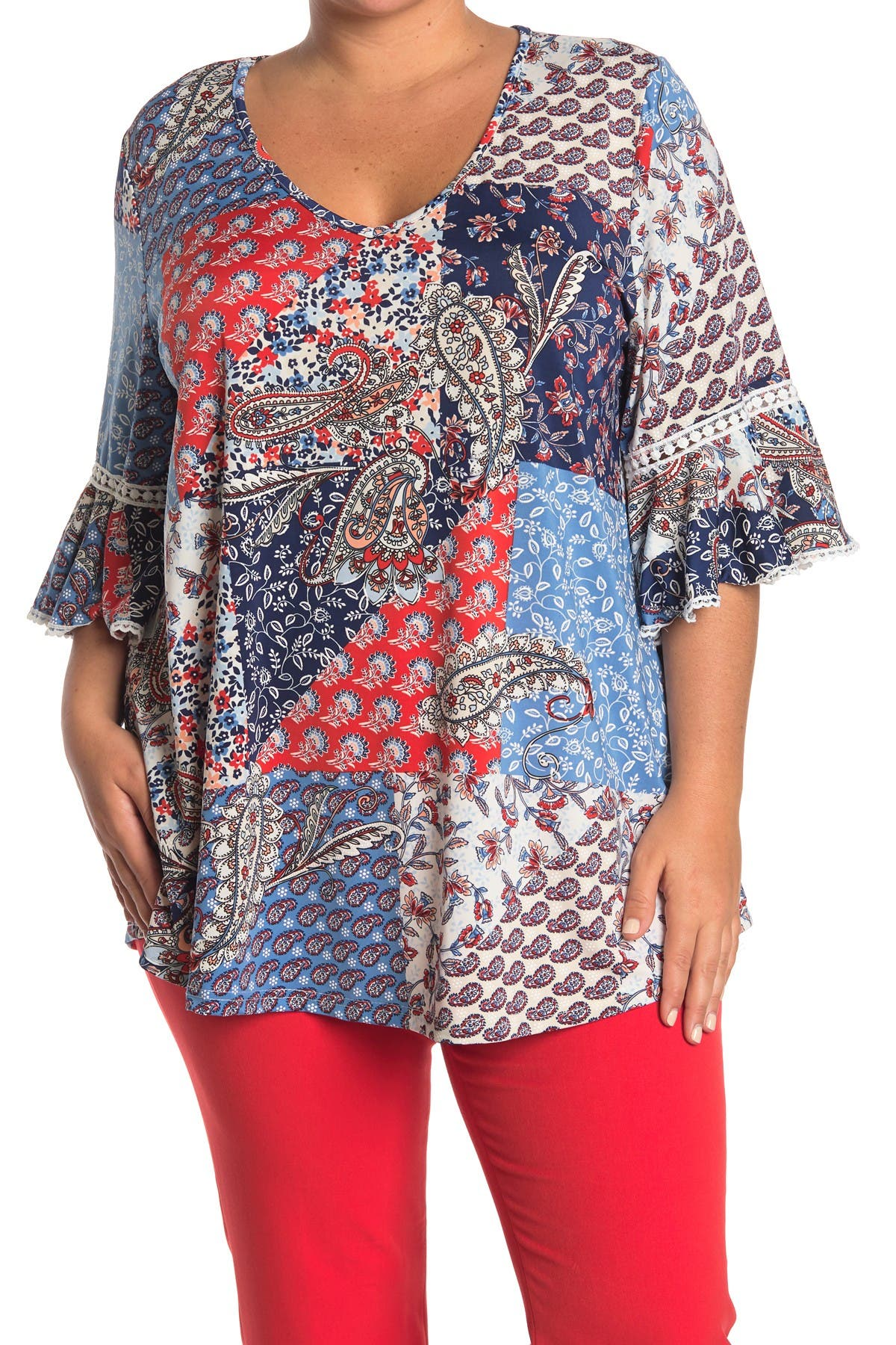 Image of STEM AND VINE Printed Lace Trim Top