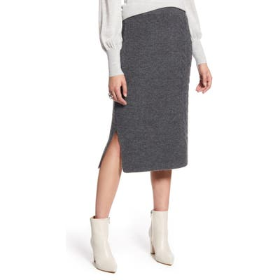 Halogen Cable Detail Sweater Skirt, Grey
