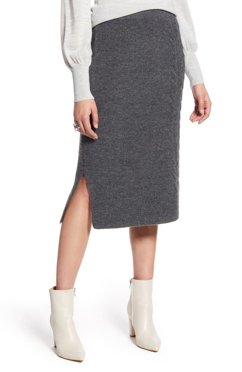 HALOGEN<SUP>®</SUP> Cable Detail Sweater Skirt, Main, color, GREY MEDIUM CHARCOAL HEATHER