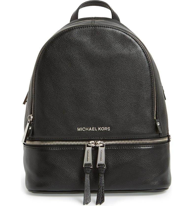 MICHAEL MICHAEL KORS 'Small Rhea Zip' Leather Backpack, Main, color, 001
