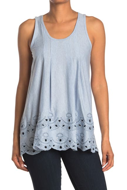 Image of Forgotten Grace Embroidered Trim Tunic Tank Top