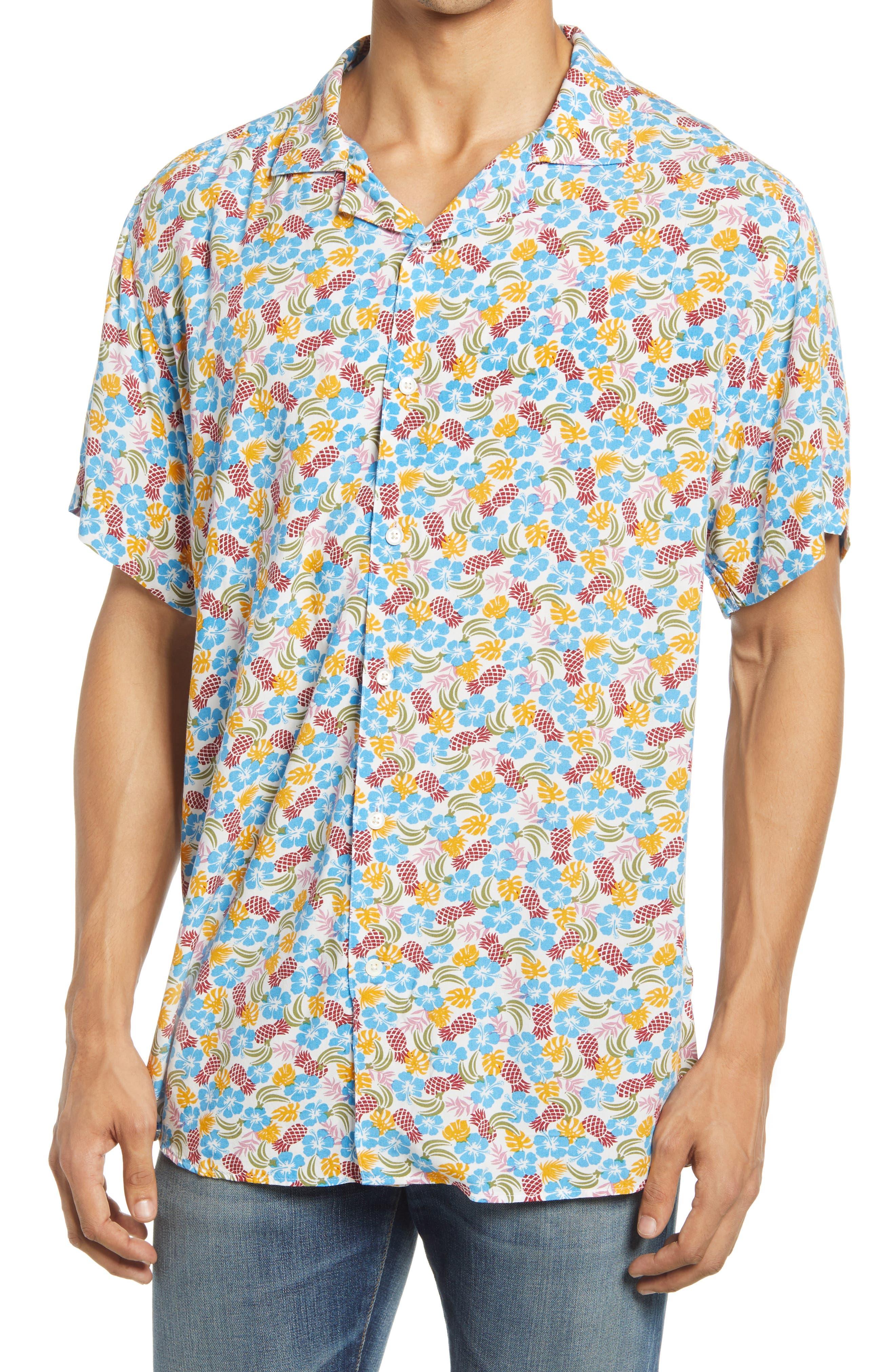 Floral & Pineaple Short Sleeve Button-Up Camp Shirt
