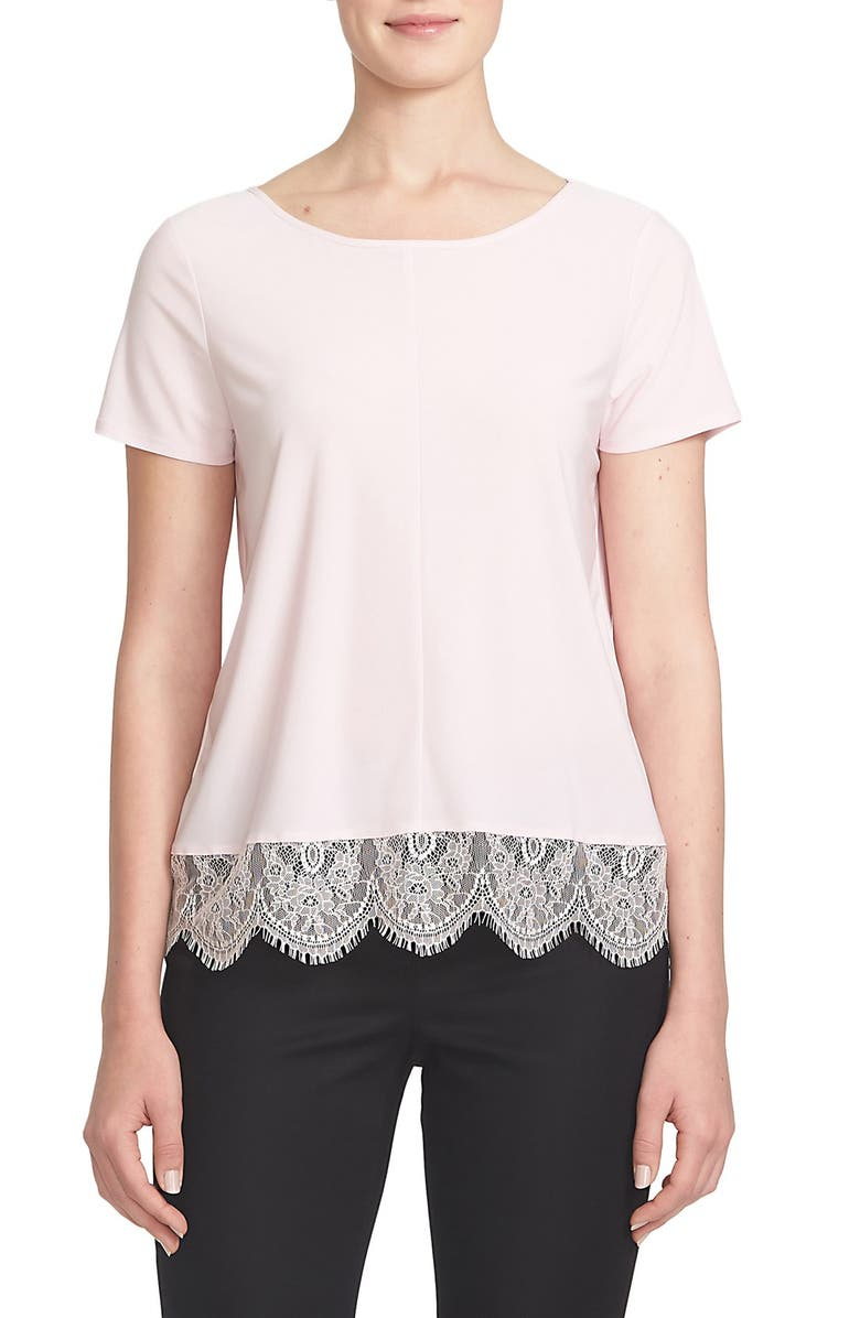 CECE by Cynthia Steffe Lace Hem Tee, Main, color, 511