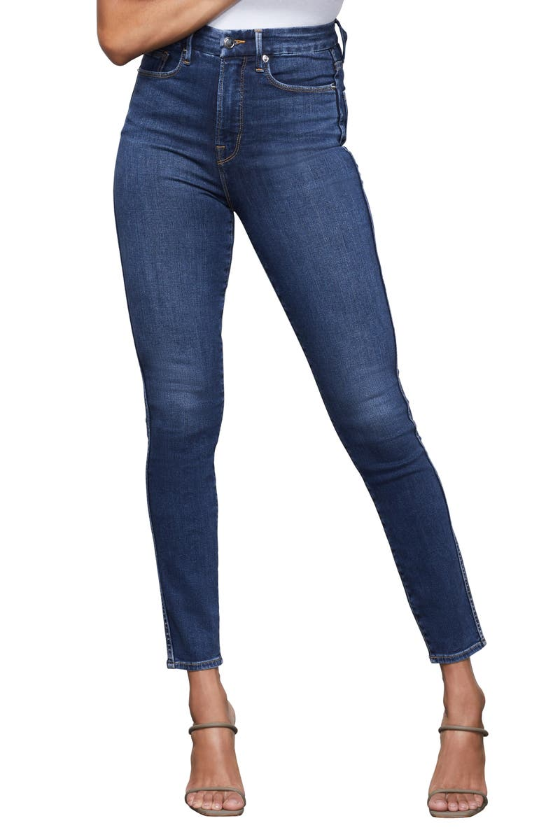 GOOD AMERICAN Good Curve High Waist Ankle Skinny Jeans, Main, color, BLUE353