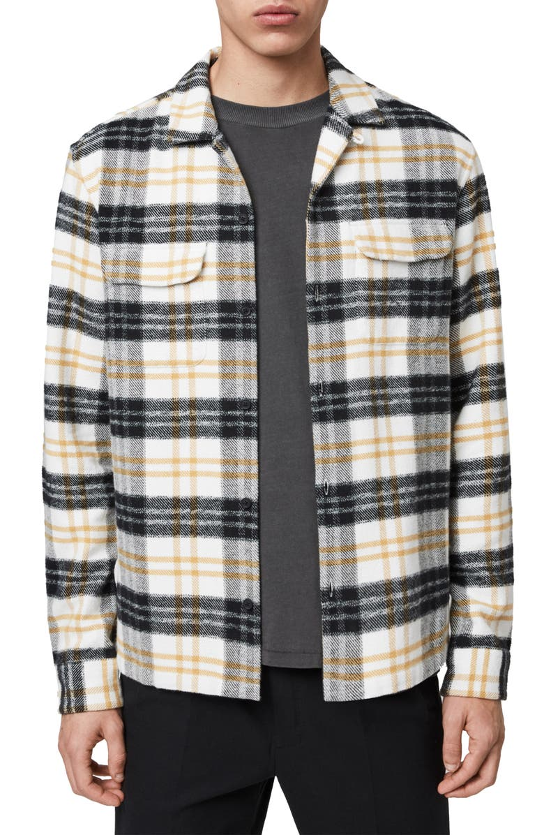 ALLSAINTS Lenado Plaid Button-Up Flannel Shirt, Main, color, WHITE