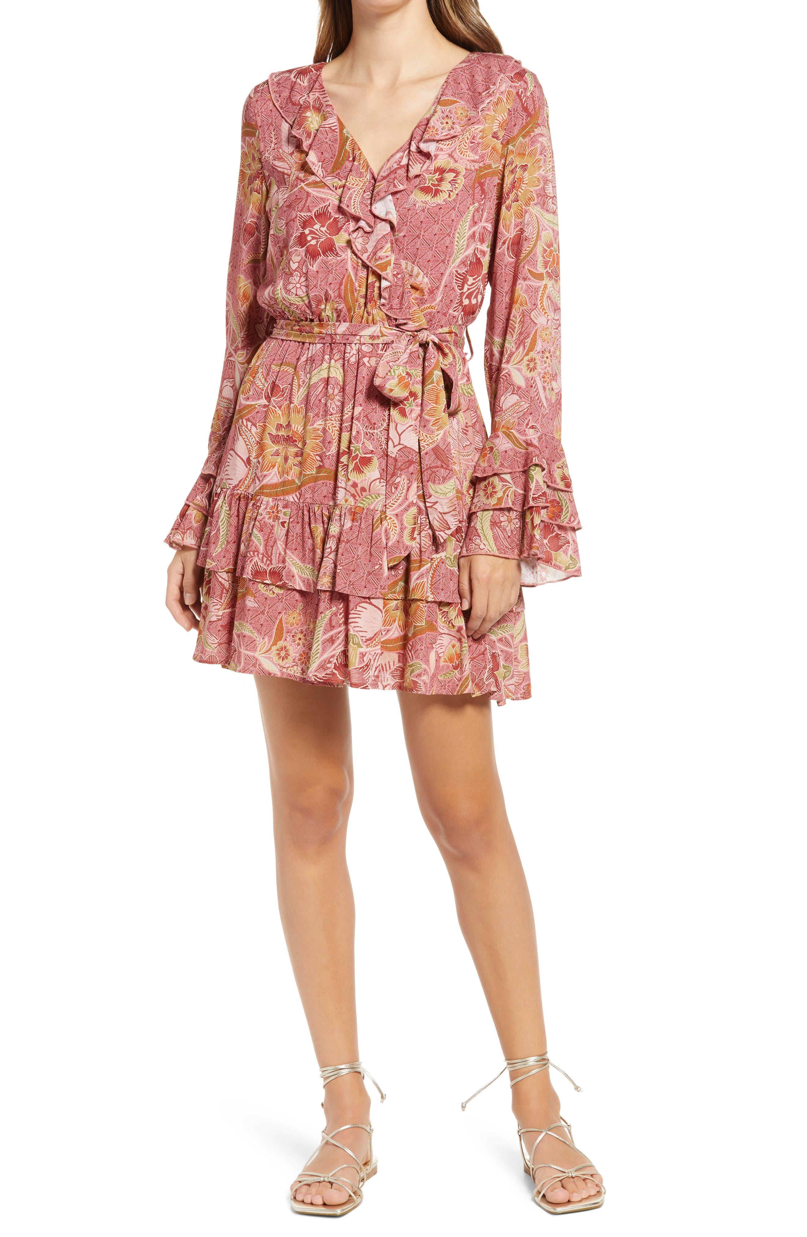 Floral Ruffle Long Sleeve Minidress