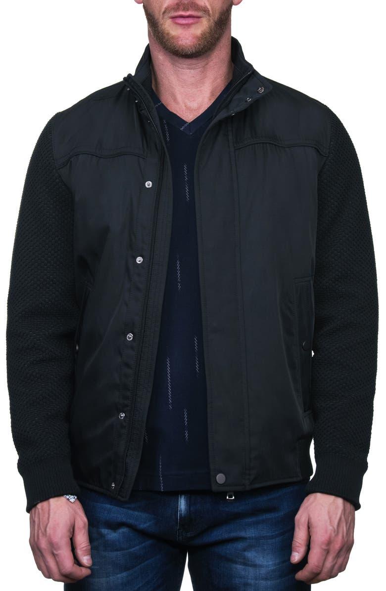 MACEOO Knit Sleeve Black Bomber Jacket, Main, color, 007