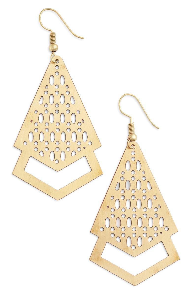 TEN79LA Filigree Drop Earrings, Main, color, GOLD