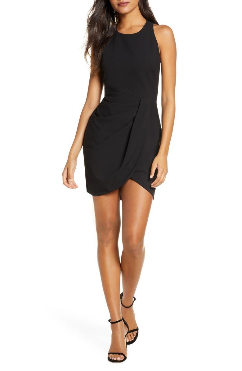 BLACK HALO Brett Drape Crepe Minidress, Main, color, BLACK