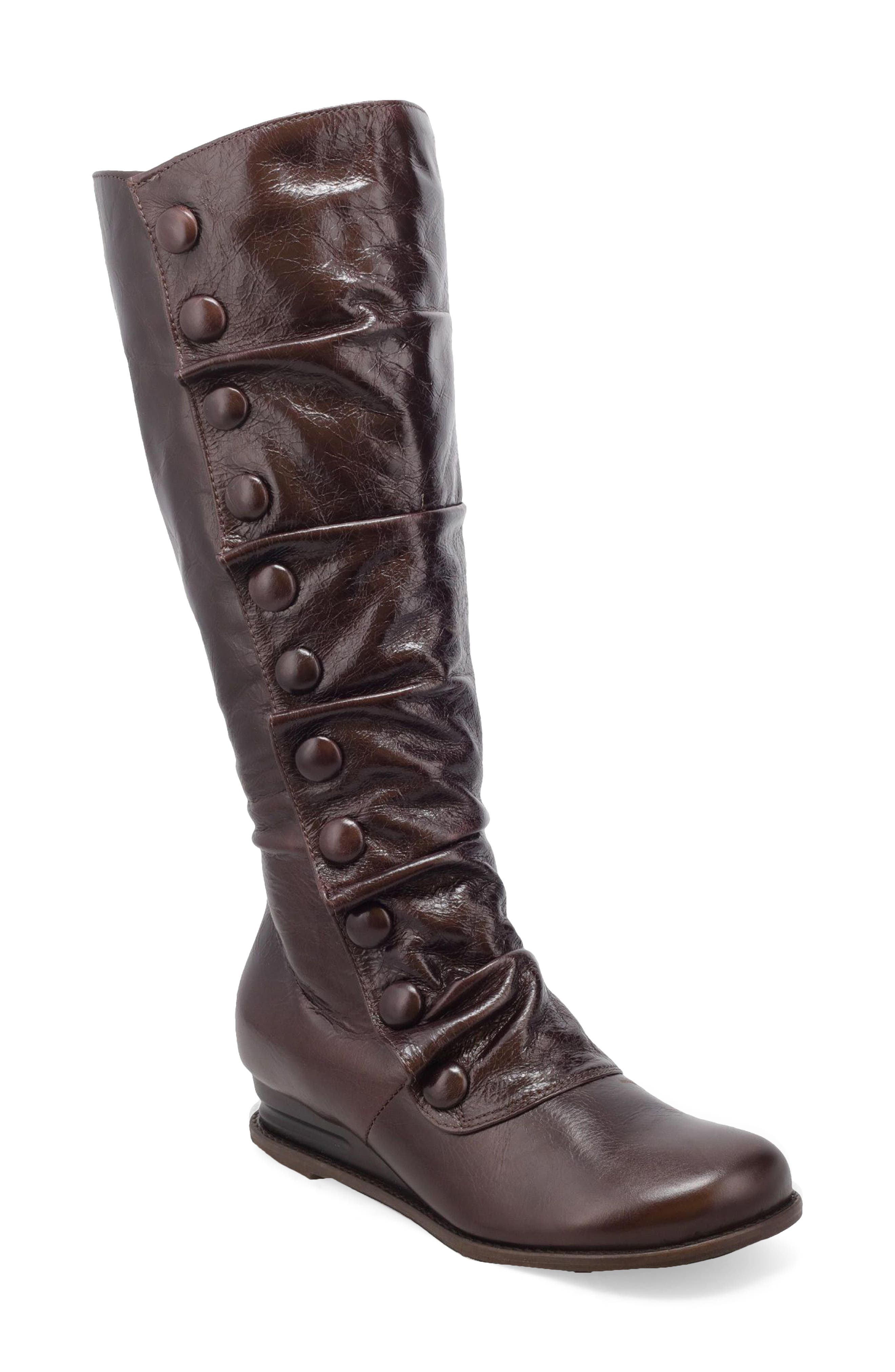 Tonal buttons run down the side of a Victorian-inspired leather boot with a slouchy silhouette, hidden heel and round toe. Style Name: Miz Mooz Bobbie Mid Calf Boot (Women). Style Number: 6110094. Available in stores.