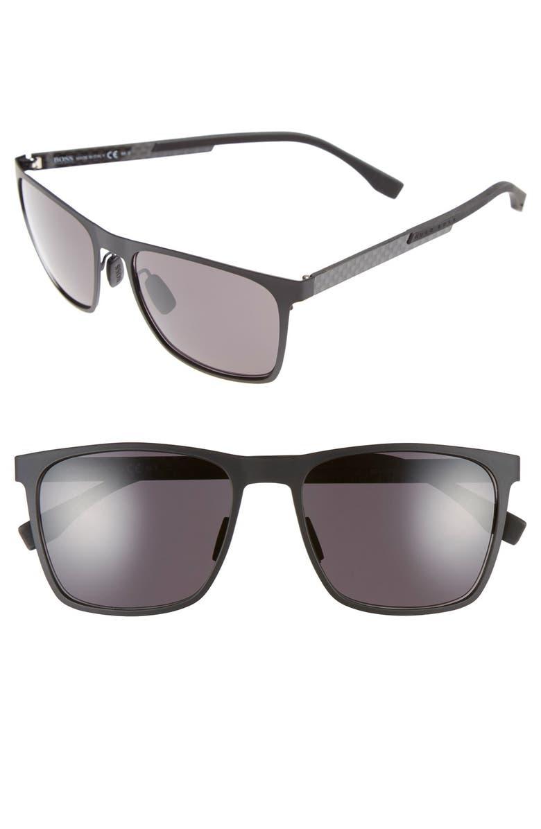 BOSS 57mm Retro Sunglasses, Main, color, MT BLACK/ GRAY