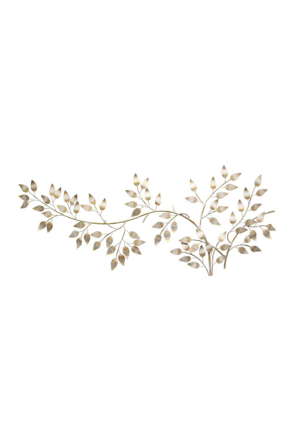 Image of Stratton Home Metallic Gold/White Flowing Leaves Wall Decor