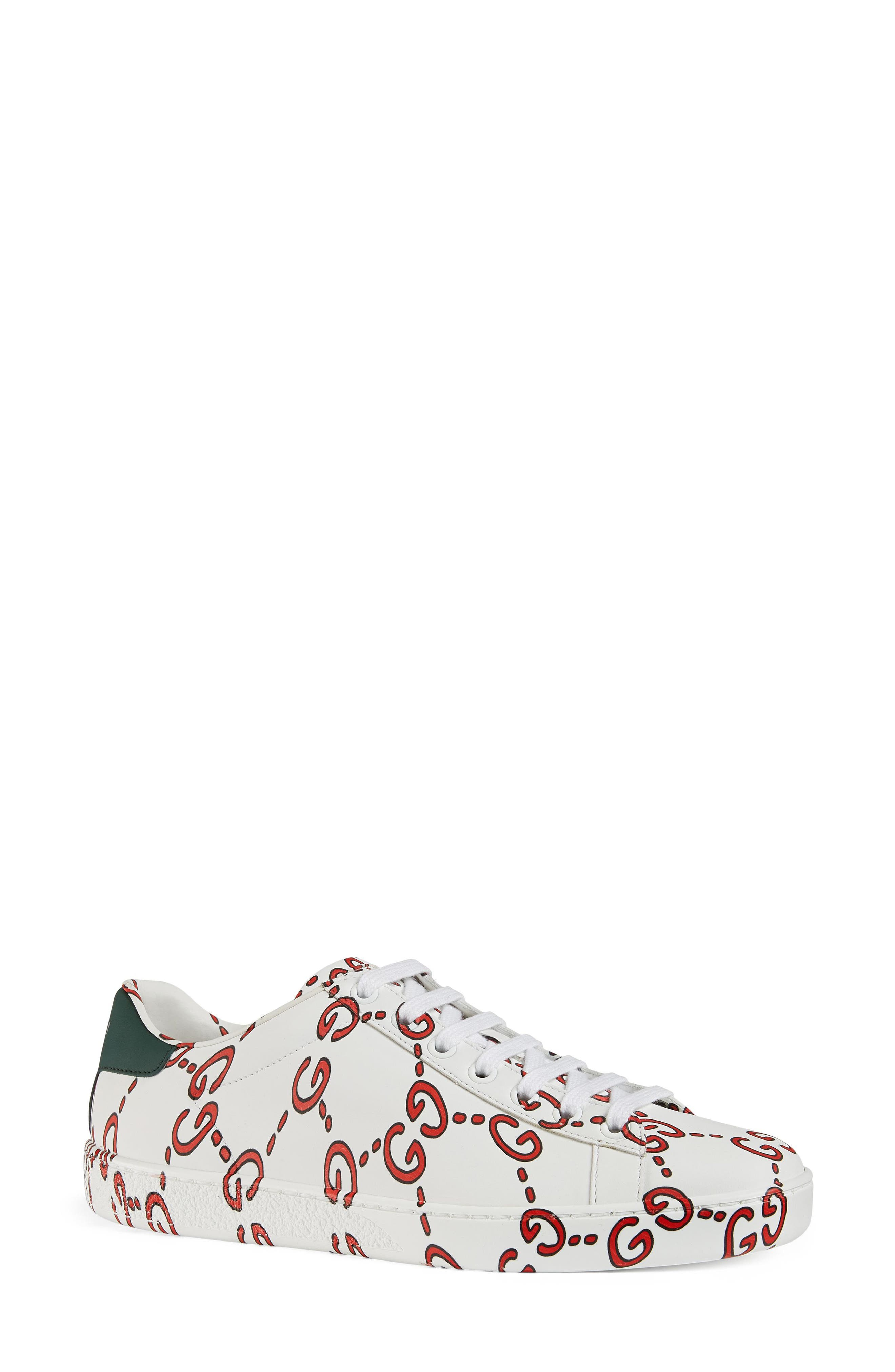 Gucci New Ace Gg Supreme Logo Sneaker, Red
