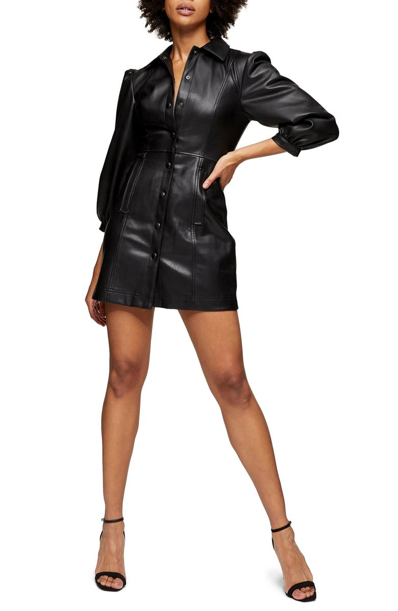TOPSHOP Long Sleeve Faux Leather Shirtdress, Main, color, 001