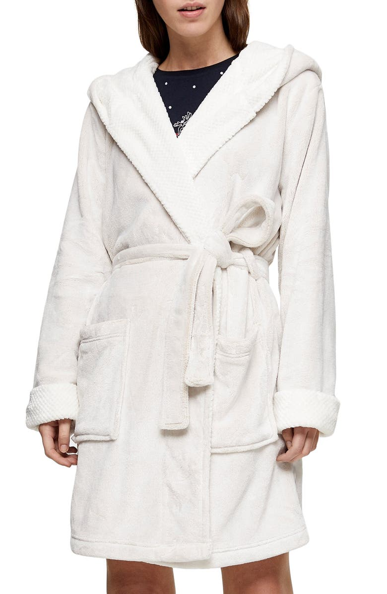 TOPSHOP Frosted Waffle Short Robe, Main, color, 900