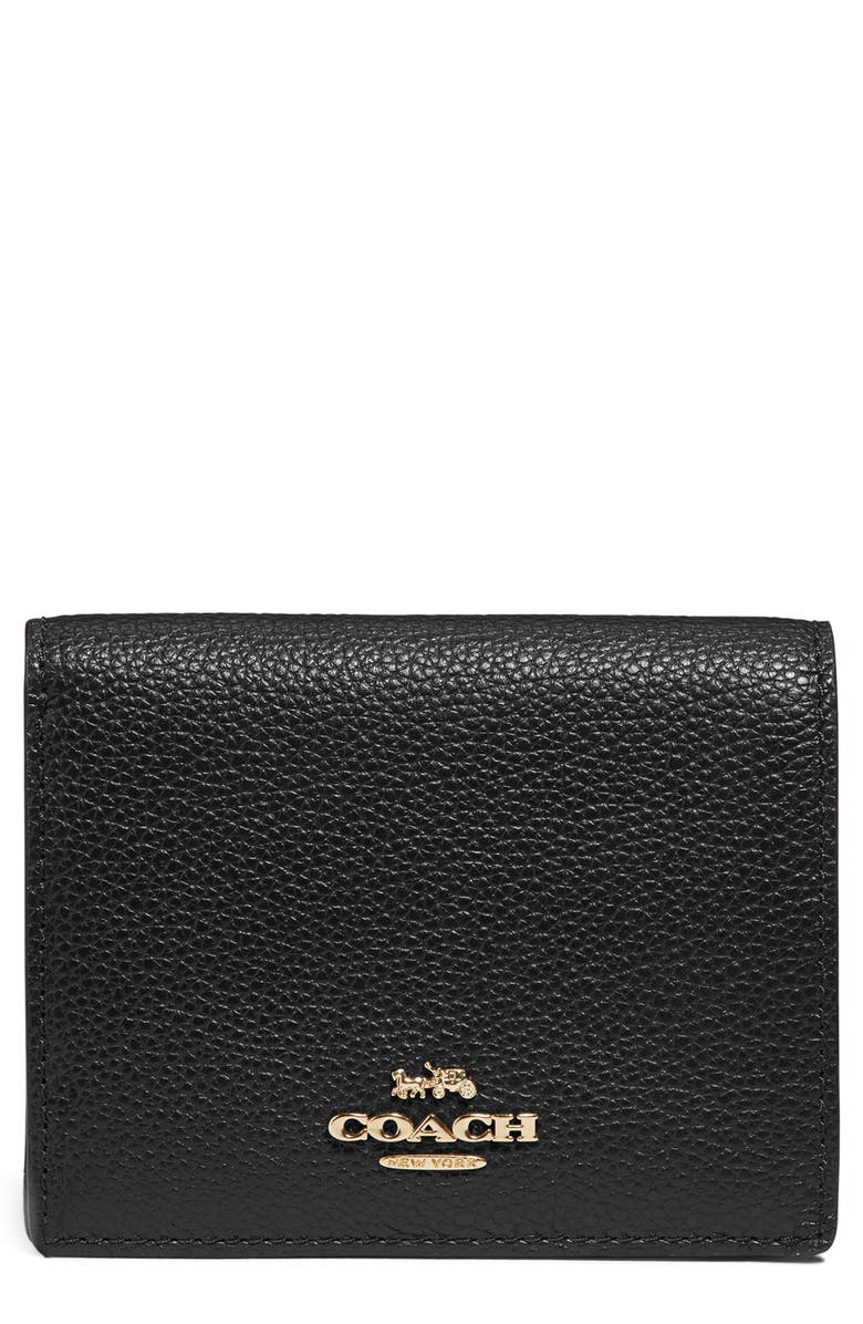 COACH Small Logo Leather Wallet, Main, color, 001