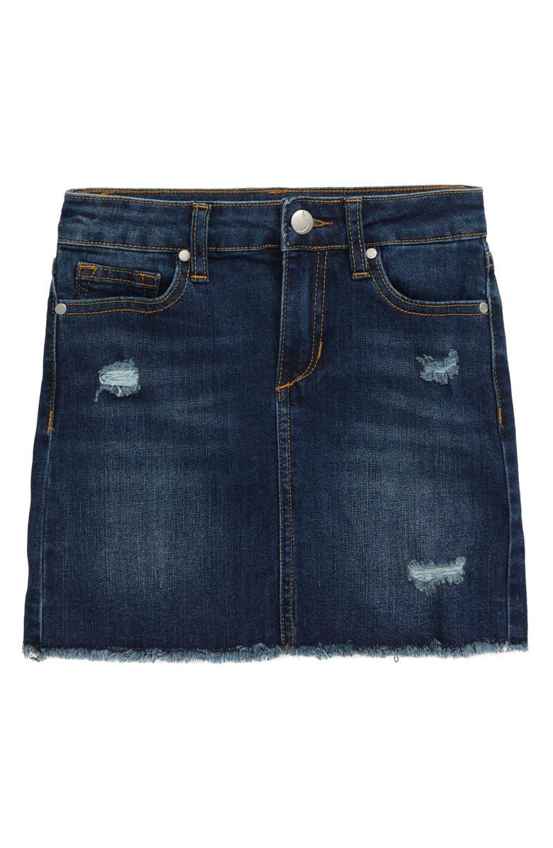 JOE'S The Markie Distressed Cutoff Denim Skirt, Main, color, LOW OCTANE