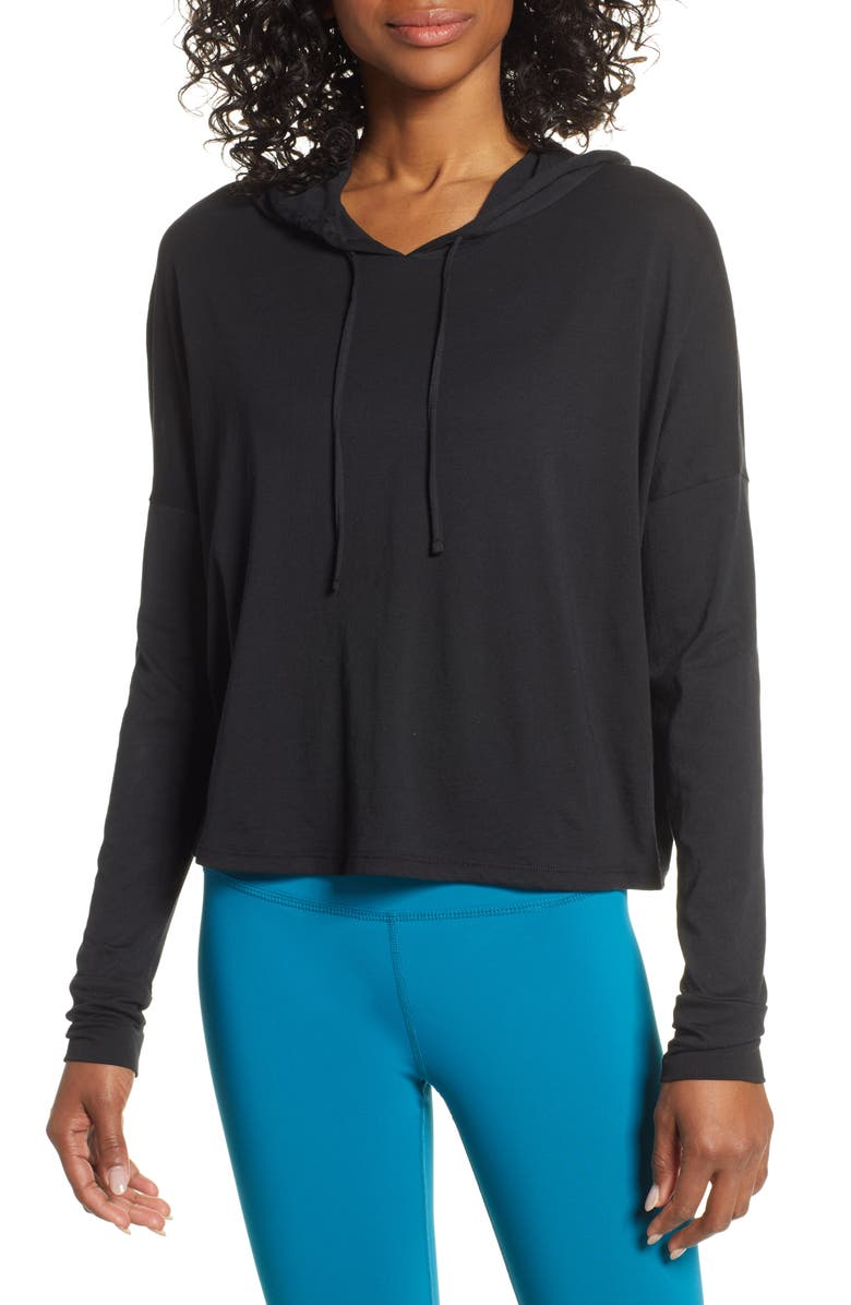 BEYOND YOGA Time Out Crop Pullover, Main, color, 001