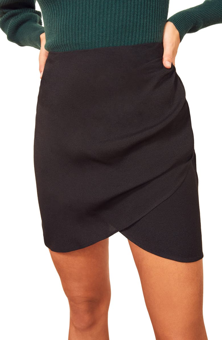 REFORMATION Jemma Ruched Front Miniskirt, Main, color, BLACK