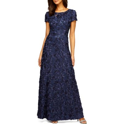 Alex Evenings Embellished Lace Gown, Blue