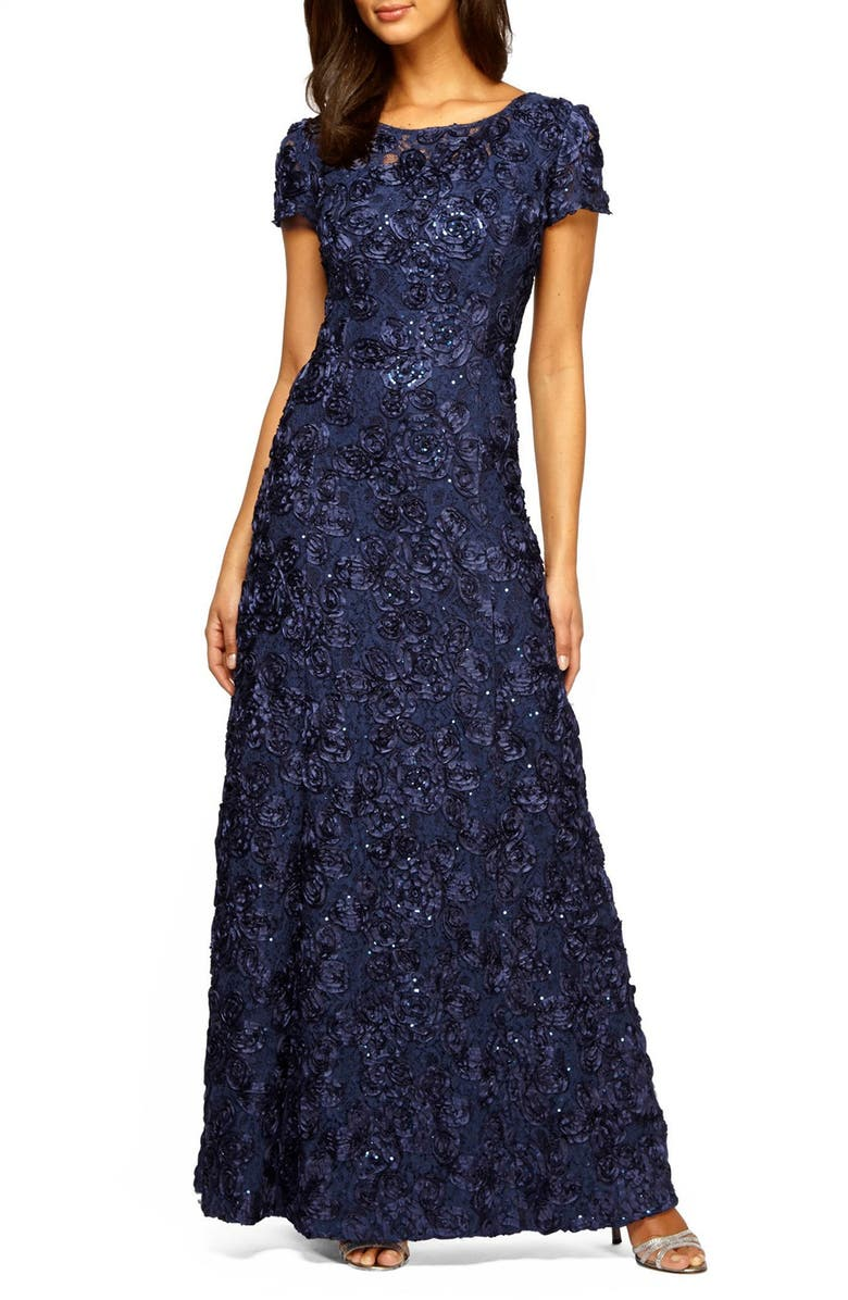 ALEX EVENINGS Embellished Lace A-Line Gown, Main, color, NAVY