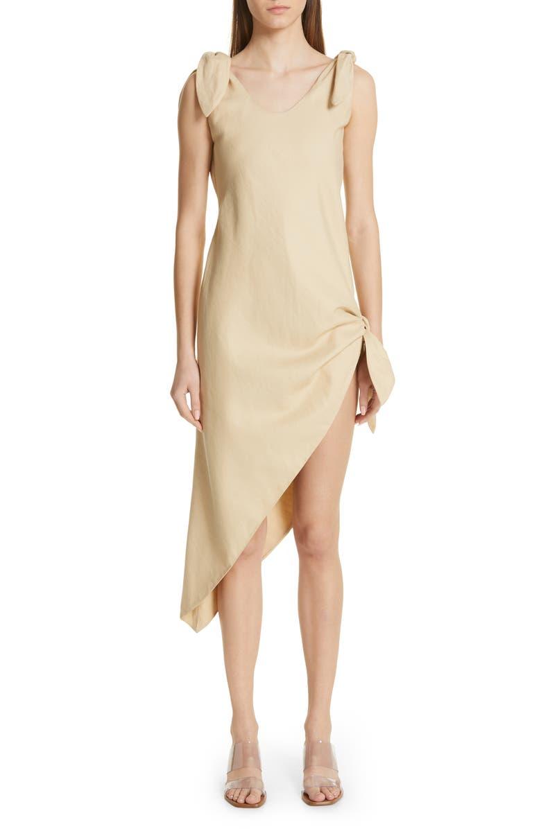 CULT GAIA Dehlila Asymmetrical Cotton & Linen Dress, Main, color, ASH
