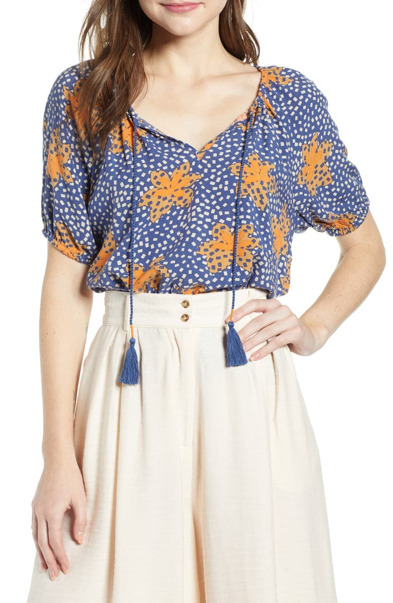 THE ODELLS Metrist Print Blouse, Main, color, NONNA