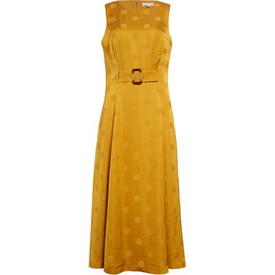 Ted Baker London Innabel Belted A-Line Midi Dress, Yellow