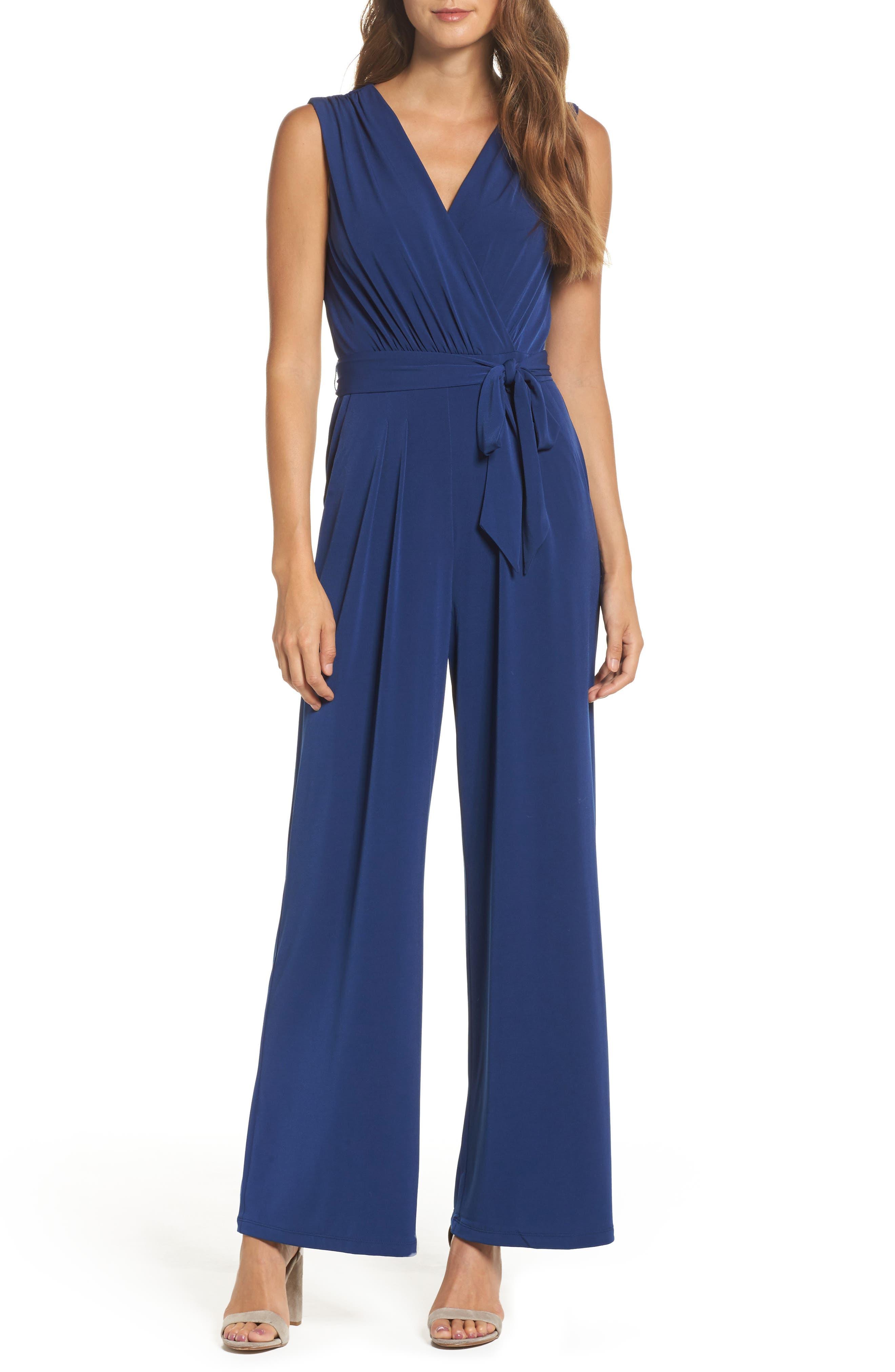 60s – 70s Pants, Jeans, Hippie, Bell Bottoms, Jumpsuits Womens Vince Camuto Faux Wrap Jersey Jumpsuit Size X-Large - Blue $58.80 AT vintagedancer.com