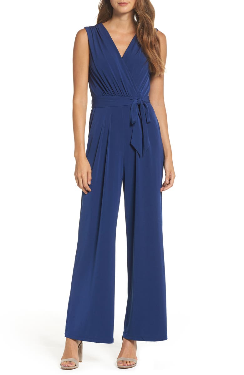 VINCE CAMUTO Faux Wrap Jersey Jumpsuit, Main, color, BLUE
