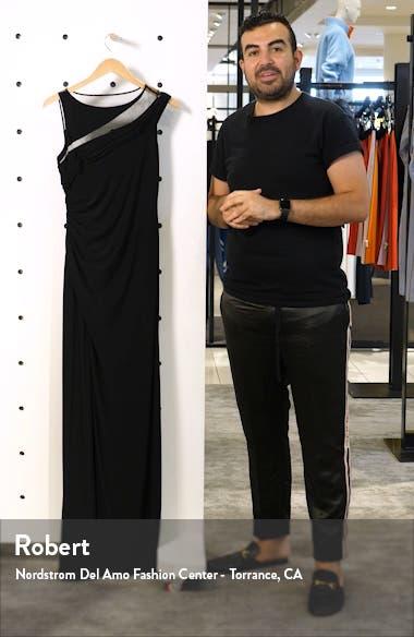 Mesh Inset Jersey Column Gown, sales video thumbnail