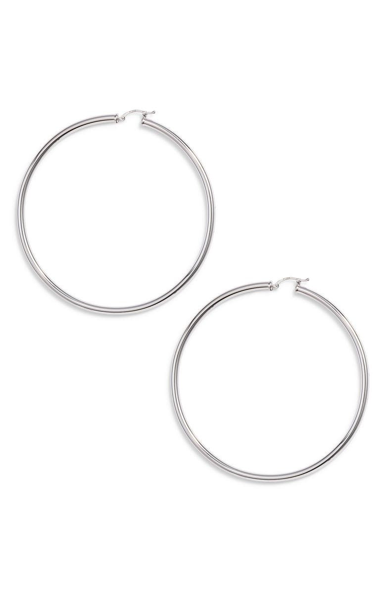 JANE BASCH DESIGNS Giant Hoop Earrings, Main, color, STERLING SILVER