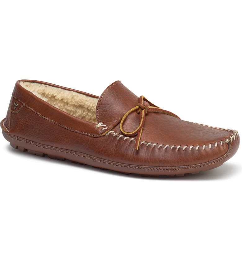 TRASK 'Polson' Slipper, Main, color, TAN LEATHER/ SHEARLING