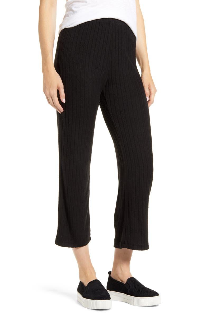 BOBEAU Ribbed Knit Ankle Pants, Main, color, BLACK