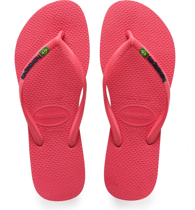 HAVAIANAS Slim Brazil Flip Flop, Main, color, FLAMINGO