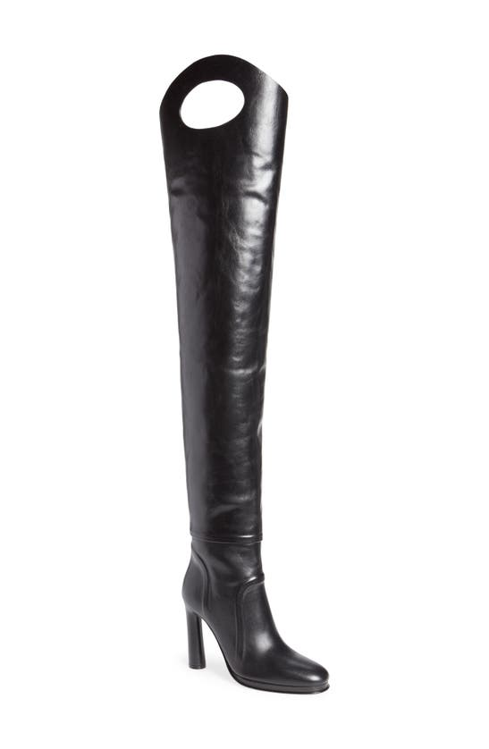 Burberry Alto Porthole Detail Thigh High Boot In Black