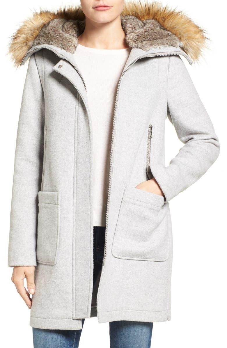 Wool Parka With Fur Hood