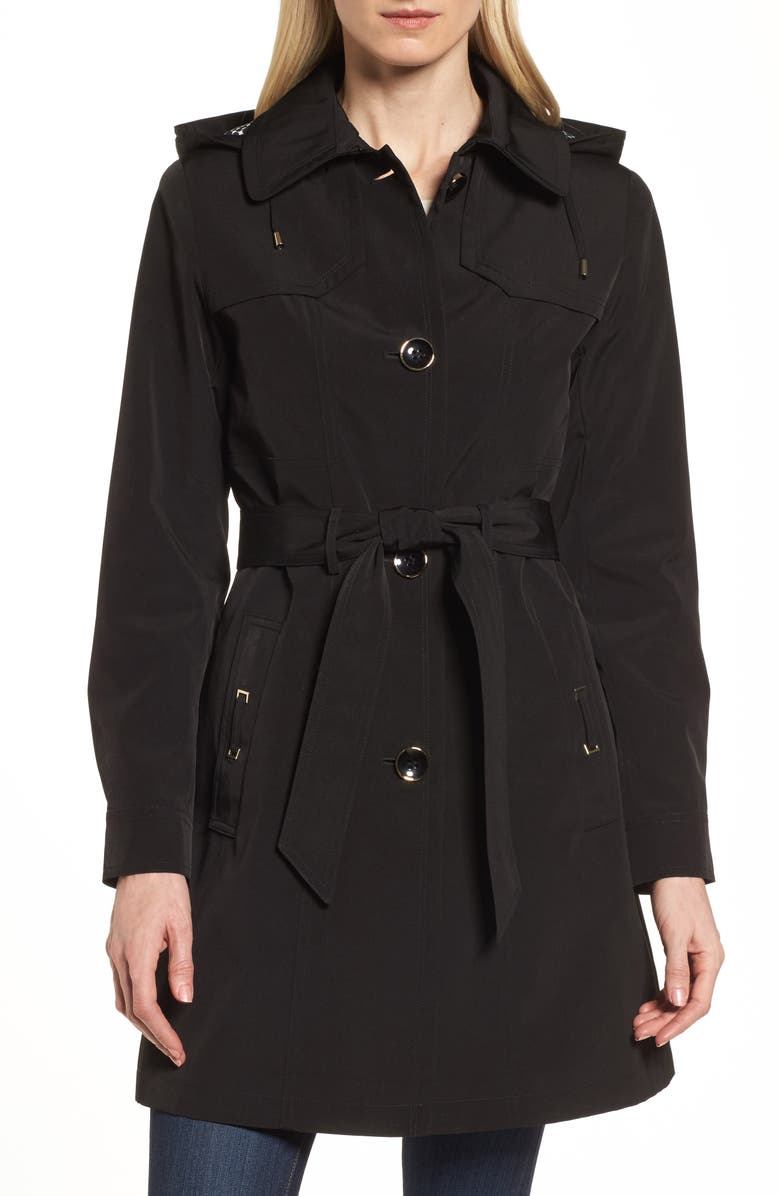 GALLERY Belted Trench Raincoat, Main, color, 001