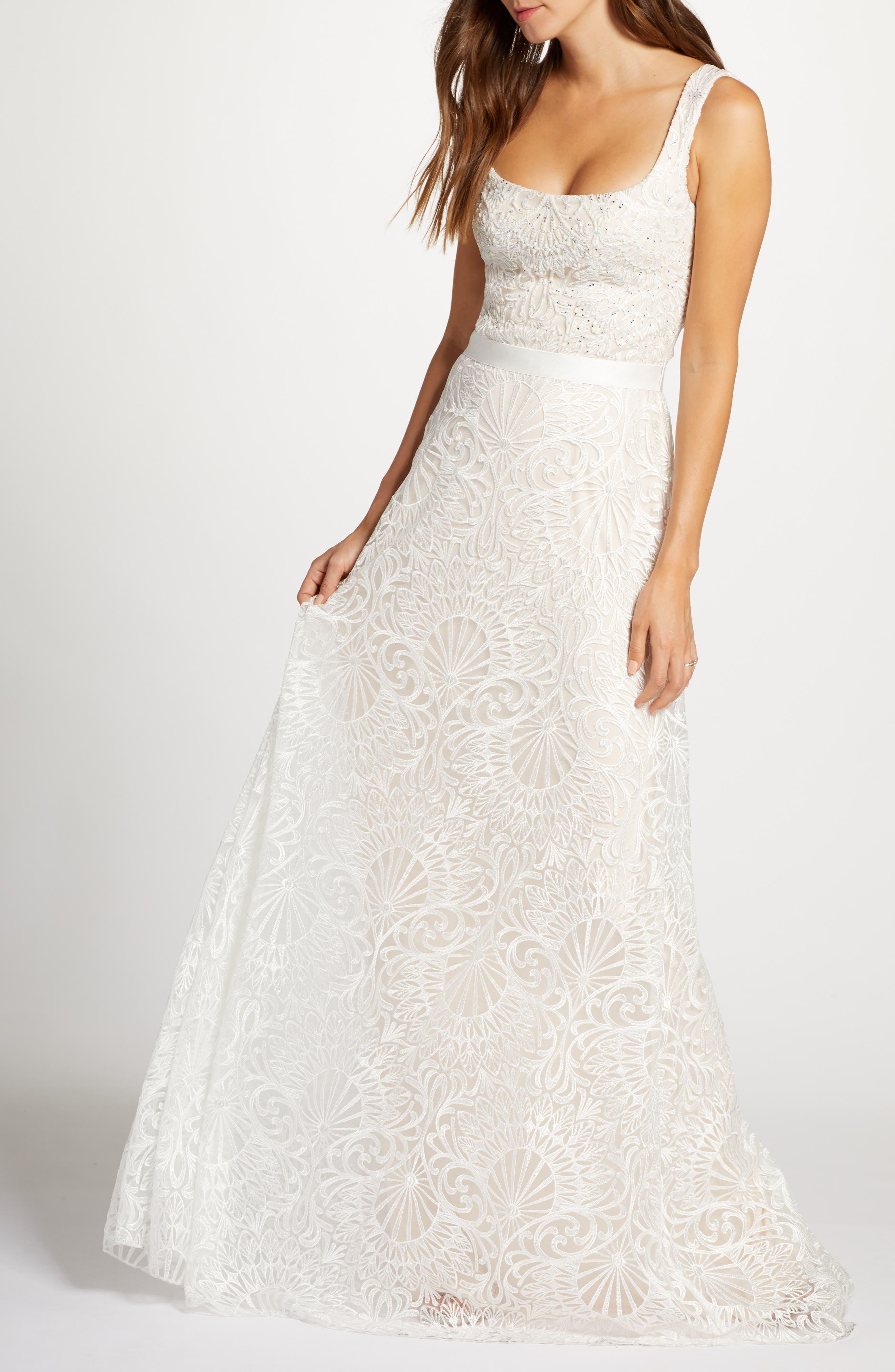 Tadashi Shoji Beaded Lace Wedding Gown   Nordstrom