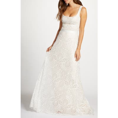 Tadashi Shoji Beaded Lace Wedding Dress, Ivory