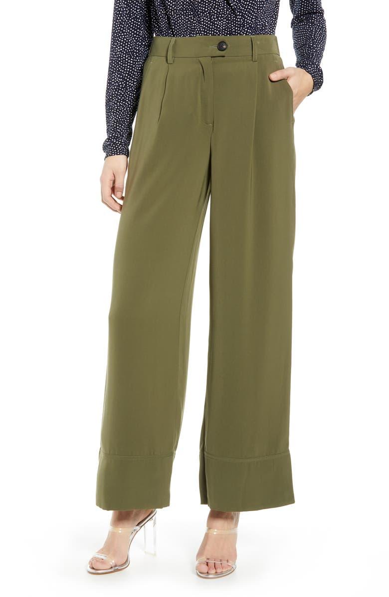 VERO MODA Grace Wide Leg Pants, Main, color, IVY GREEN