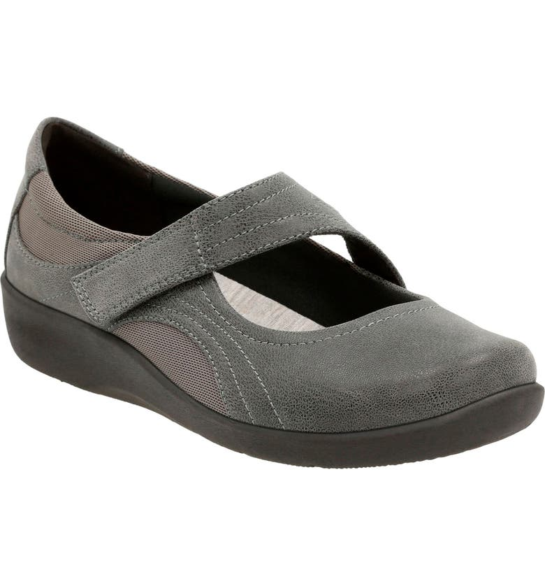 CLARKS<SUP>®</SUP> Sillian Bella Mary Jane Flat, Main, color, GREY FABRIC