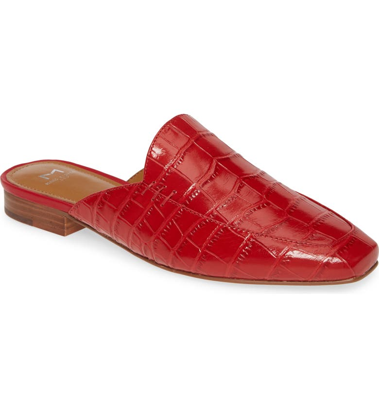 MARC FISHER LTD Pam Mule, Main, color, RED CROCO EMBOSSED LEATHER